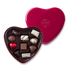 A heart-shaped symbol of your affections, this elegant red metallic gift box contains a sumptuous selection of pralines.