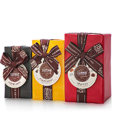 Treat your favorite Belgian chocolate lover to this perfect trio by Belgian chocolatier Corné Port-Royal. Dive into the rich pleasures of milk, dark, and white chocolate pralines, along with an irresistible assortment of chocolate truffles.