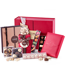 This VIP Corné Port-Royal luxury chocolate gift overflows with an assortment of fine Belgian chocolates and a beautiful marzipan gift box.