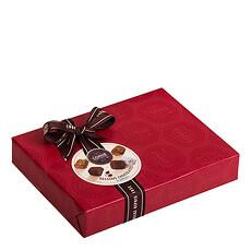 Dieses Ballotin enthält: Schokoladetrüffeln, Marc de Champagne-Trüffeln, Kaffeetrüffeln und gesalzene Karamelltrüffeln.