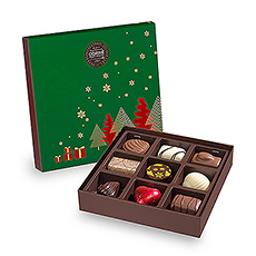 This small chocolate box offers 9 popular Corné Port-Royal chocolates, for you to discover.