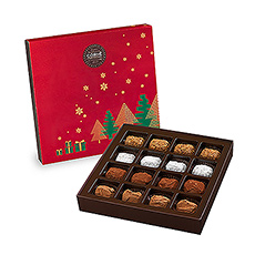 This Corné Port-Royal gift box wrapped in festive colors offers a selection of chocolate truffles, Marc de Champagne truffles, coffee truffles and caramel truffles with Guérande salt.