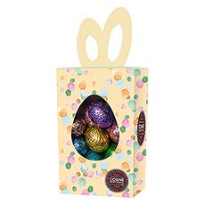 Comme elle est attractive cette boîte aux oreilles de lapin, remplie de 23 oeufs de Pâques délicieux !