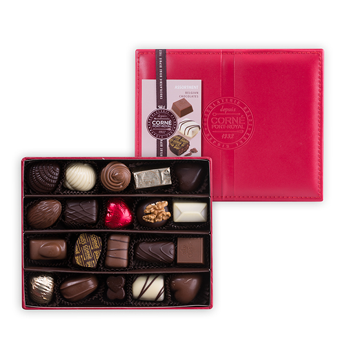 Corné Port-Royal Red Leather Box, 285 g, 20 Chocolates Without Alcohol
