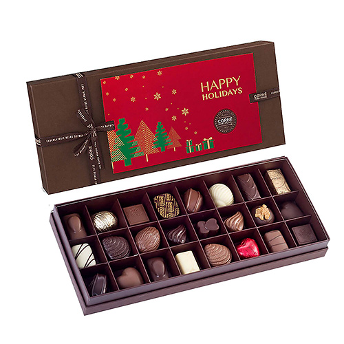 Corné Port-Royal Christmas 2019 : Brown Rectangular Gift Box Happy Holidays, 325 gr