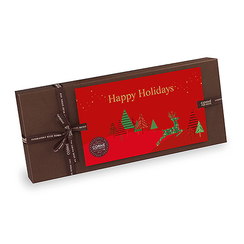 Corné Port-Royal Christmas 2020 : Brown Rectangular Gift Box Happy Holidays, 325 gr