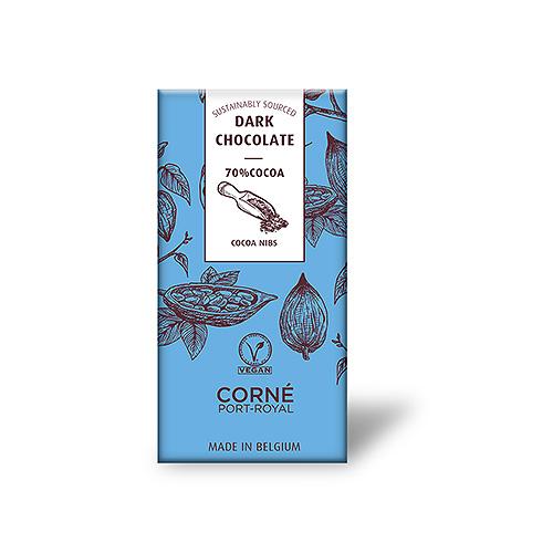 Tablette Chocolat Noir 70%, Avec Des Morceaux De Fève De Cacao, 70 g, par 5 pcs