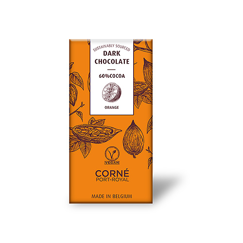 Tafel dunkle Schokolade 60%, mit kandiertem Orange, 70 Gramm, pro 5 Stück