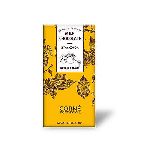 Tablet Melkchocolade 37%, Nougat en Honing, 70 g, per 5 st.